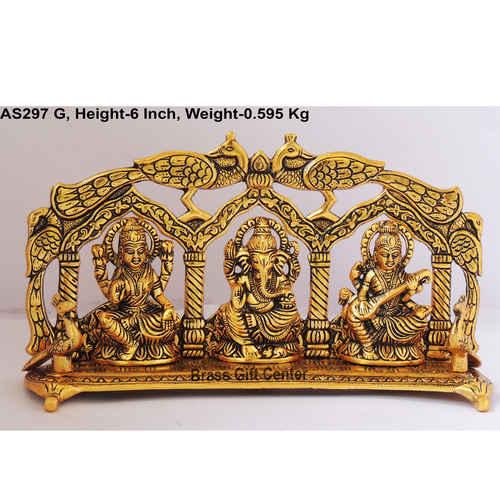 Laxmi Ganesh  Saraswati LGS Statue Murti Idol In Gold Antique Finish - 11x2.5x6 Inch