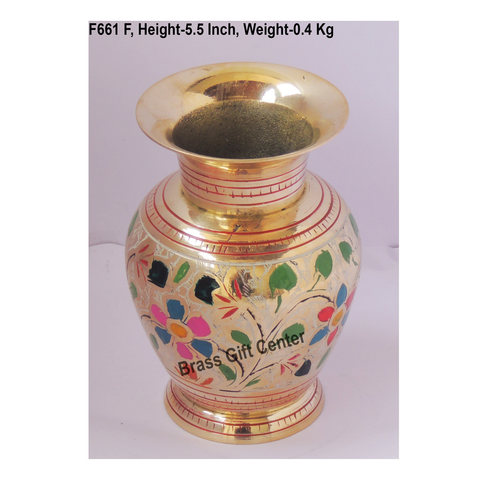 Brass Flower Vase pot with Handwork - 4*4*5.5 Inch  (F661 F)