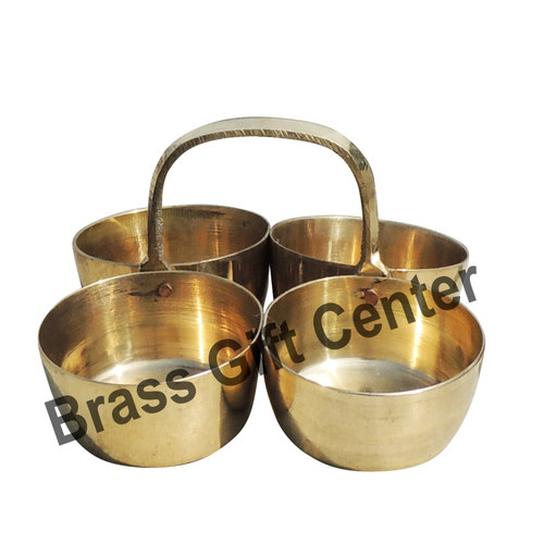 Brass Chokta Small 4 Bowl Combined - 3.4*3.4*2.2 Inch  (Z142 C)