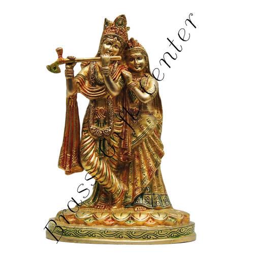 Brass Radha Krishna Statue Murti In Multicolour Lacquer Finish - 10.5 Inch  BS399 D