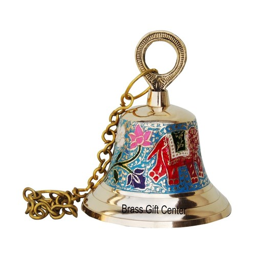 Brass Temple Bell With Handicraft Colour 4.8*4.8*6 Inch  (F515 B)