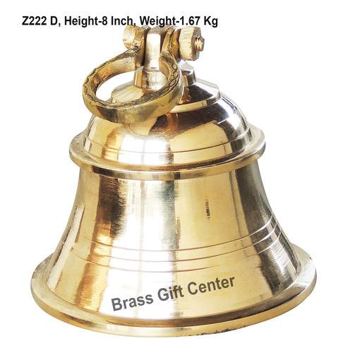 Brass Ganta Bell Temple Bell Plain - 6*6*8 Inch  (Z222 D)