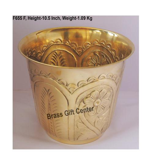 Brass planter Pot Gamala with hand Work Diameter 12 Inch weight 1.09 kg  F655 F