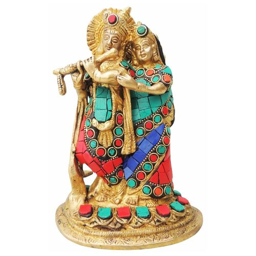 Brass Radha Krishna Staute Idol Murti Studded with Turquoise Coral stone work- 5*3.5*7.5 Inch  (BS836 B)