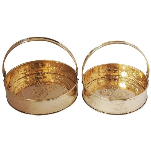 Brass Pooja Flower Basket Set of 2 - Small and Big Fool Dhalia Z296 A