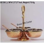 Copper steel brass pickel achar holder bowl with spoon - 7.2*7.2*7 inch  (BC139 C)