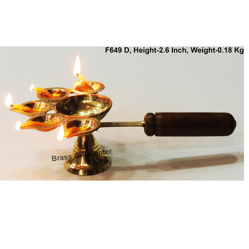 Brass Panch Arti Deepak Diya With Wooden Handle - 8.6*5.5*2.6 Inch  (F649 D)