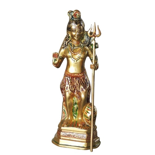 Brass Shivji Statue Murti Idol in Mulitcolour Lacquer Finish 2.5 kg - 4.2x3.2x12.4 Inch  BS1066 S