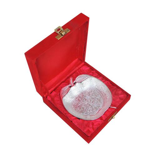 Brass Apple Leaf Bowl With Silver Finish - 5.5 Inch B040
