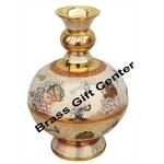 Brass Coloured Flower Vase with handwork - 6.5*6.5*9 Inch  (F329 B)
