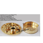 Brass Puja pooja Thali and Flower Basket With Bell Roli Katori Dhoopagarbatti Holder A Panchamrut Set With Spoon  Z323 A