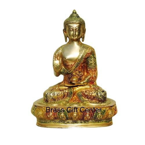 Brass Buddha Statue Murti Idol In Multicolour Lacquer Finish - 8410 Inch  BS660 A