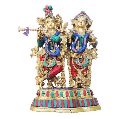 Brass Radha Krishna Staute Idol Murti With Turquoise Coral Stone Work - 12.7*5.4*17 Inch  (BS939 B)