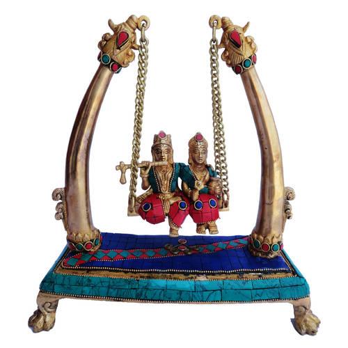 Brass Radha Krishna Under Tree Staute Idol Murti Studded with Turquoise Coral stone work- 10*4*11 Inch  (BS178)