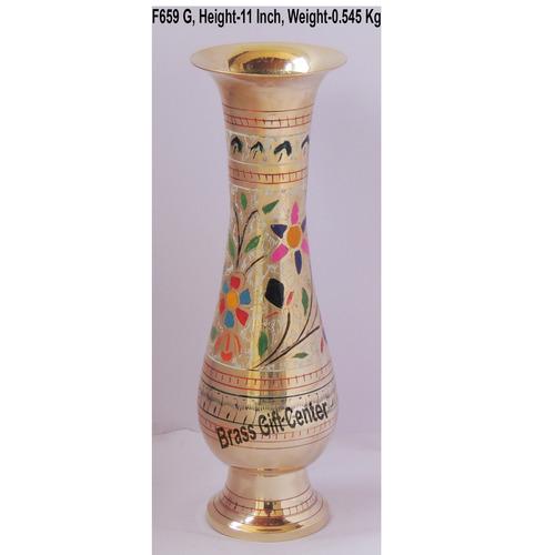 Brass Flower Vase pot with Handwork - 3.5*3.5*11 Inch  (F659 G)