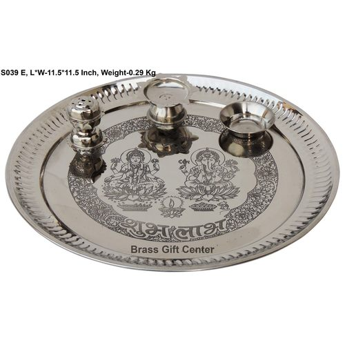 Stainless Steel Thali - 11.511.5 inch S039 E