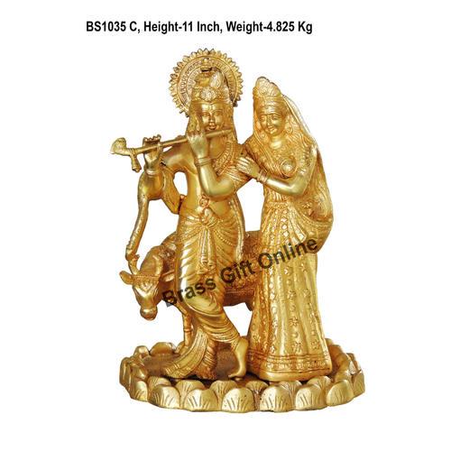 Brass Radha  Krishna eith Cow Idol Murti Statue 4.9 Kg - 11 Inch  BS1035 C