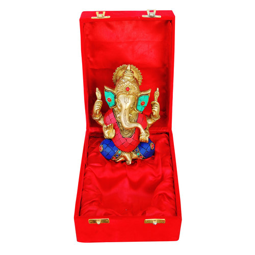 Brass Ganeshji With Turquoise Coral Stone Work Packed In Red Velvet Box - 5*3*6 inch  (BS656)
