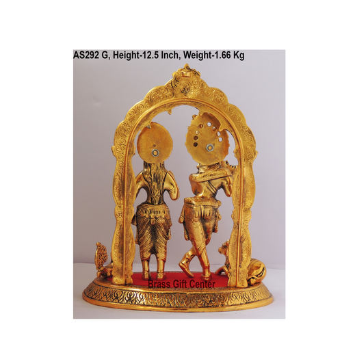 Radha Krishna Statue Murti Idol In Gold Antique Finish - 10.5x6.5x12.5 Inch