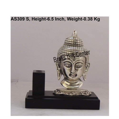 Wooden Pen Stand With Metallic Silver Buddha Face - 63.26.5 Inch