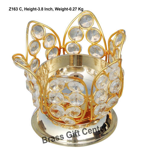 Brass Kamal Diya Deepak with Crystal Beads - 4.7*4.7*3.8 inch  (Z163 C)