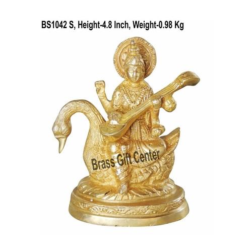 Brass Saraswati StatueMurtiIdol - 4.8 inch BS1042 S