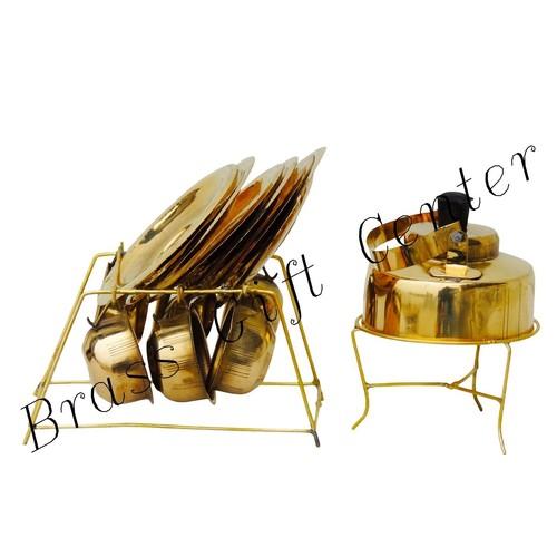 Brass Mini Miniature Tea Cup Saucer Kettle set for Children Playing  F079