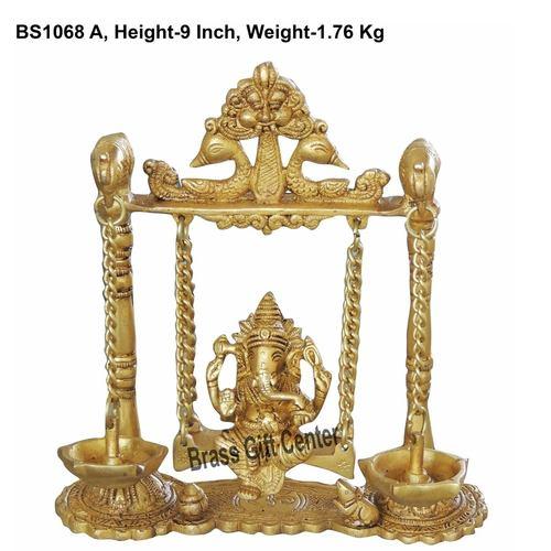 Brass Ganesh Jhula with Deepak 1.75 kg - 8x2.5x9 Inch  (BS1068 A)