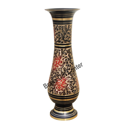 Pure Brass Flower Vase With Hand Work - 550 GM- 3.5*3.5*11 Inch  (F622 A)