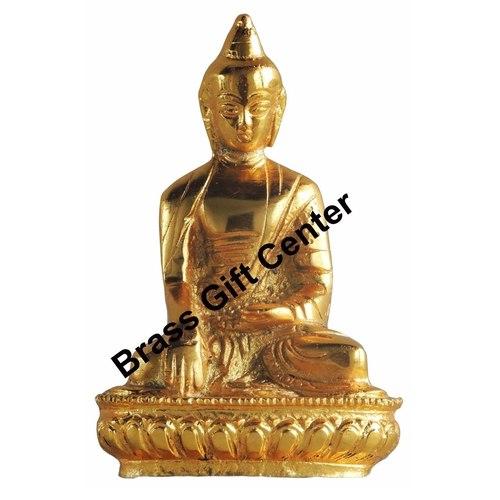 Aluminium Buddha Statue Murti Idol Gold finish - 3.52.66 Inch AS220 G