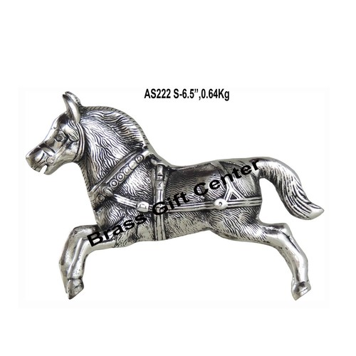 Metallic Running Horse Decorative Showpiece In Silver Antique Finish - 9.62.56.5 Inch AS222 S