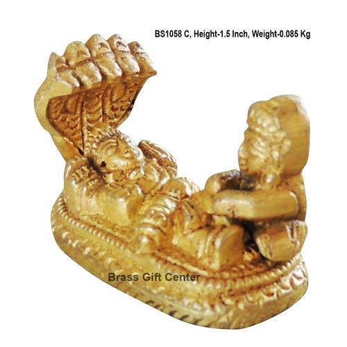 Brass Vishu on Shehnag Statue Murti idol 85 gm - 2*+*1.5 inch  (BS1058 C)