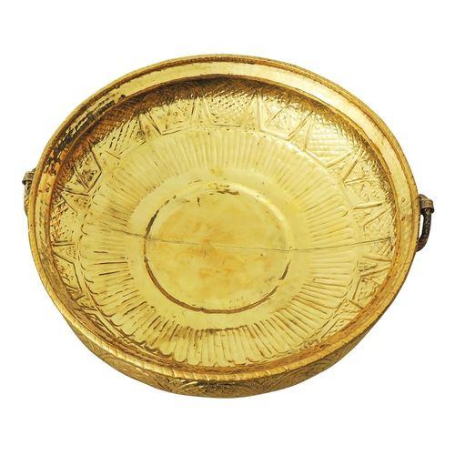 Brass Urli with Handwork Diameter 27.7 inch (F574 X)