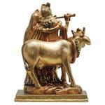 Brass Radha Krishna with Cow Staute Idol Murti in Multicolour lacquer finish - 5.5*4*7.5Inch  (BS400)