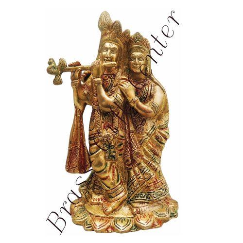 Brass Radha Krishna Statue Murti In Multicolour Lacquer Finish - 7.5 Inch  BS399 F