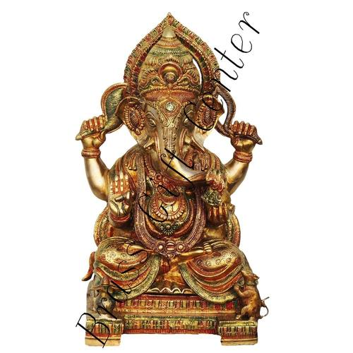 Brass Ganesh Statue In Multicolour Lacquer Finish - 18 Inch  BS492 C
