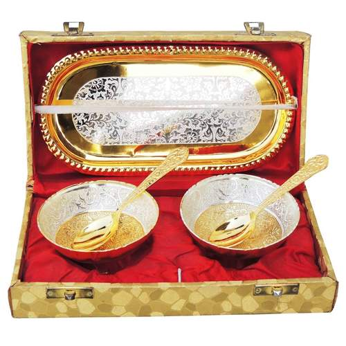 Brass Gold And Silver Plated Two Bowl And Spoon Set  B263 A