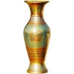 Brass Coloured Flower Vase with handwork - 3*3*7.5 Inch  (F148 A)