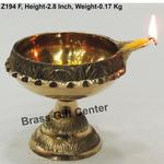 Brass Kuber Deepak Diya With Stand No. 4 - 3.7*3.1*2.8 Inch  (Z194 F)