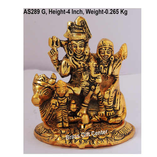 Shiv Parivaar on Nandi in Golden Antique Finish - 3.5x3.5x4 Inch  (AS289 G)