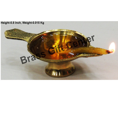 Brass Laxmi Deepak LD No. 0 Diya With Handle - 3 Inch  (F626 A)