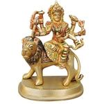 Brass Durga Ji StatueMurtiIdol With Multicolour Lacquer Finish-5.7 Inch BS937 A