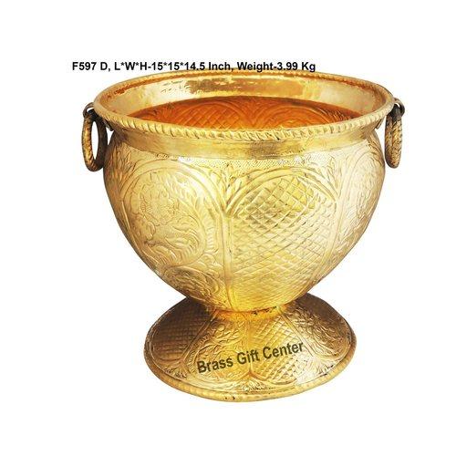 Brass planter Pot Gamala Chatai Diameter 15 Inch weight 4 Kg  F597 D