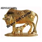 Gaye Bachdha Cow With Calf Statue - 6.5 Inch (AS218 G)