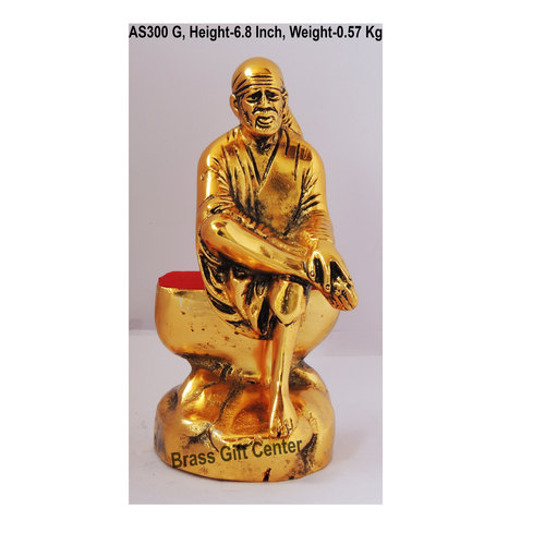 Sai Baba Statue Murti Idol In Gold Antique Finish - 3.9x2.5x6.8 Inch
