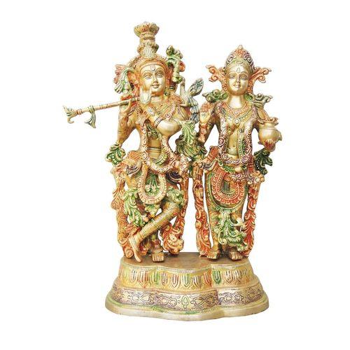 Brass Radha Krishna Staute Idol Murti in Multicolour lacquer finish - 10.5*5*16.8 Inch  (BS939 A)
