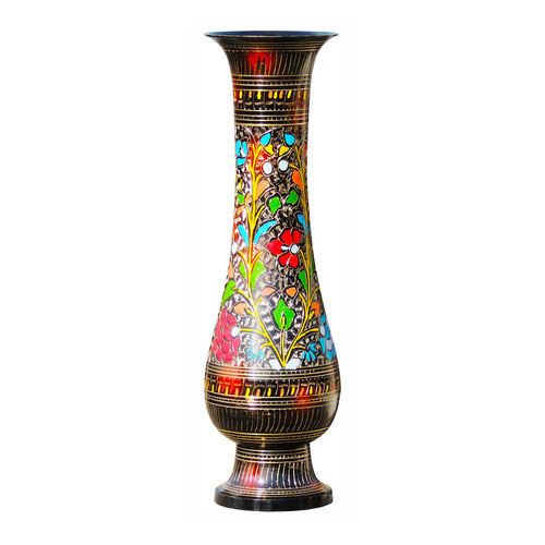 Brass Coloured Flower Vase with handwork - 4.5*4.5*16 Inch  (F397 D)