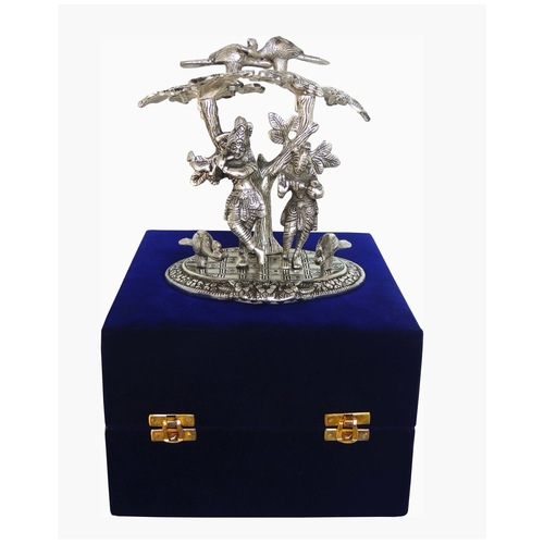Aluminium Radha Krishna Standing Under Tree In Silver Antique Finish With Blue Velvet Box - 7.55.57.5 Inch AS134 S