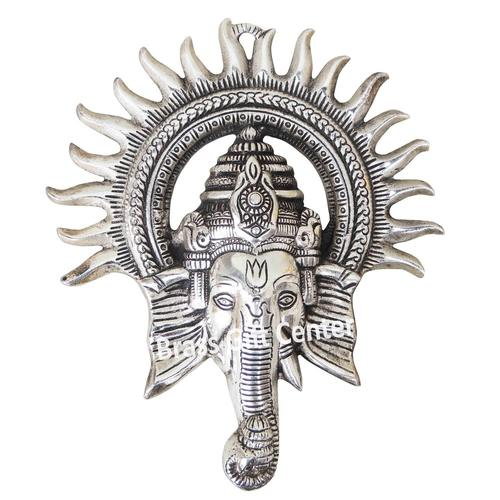Wall Hanging Ganesh Statue With Silver Antique Finish-9.8 Inch AS243 S
