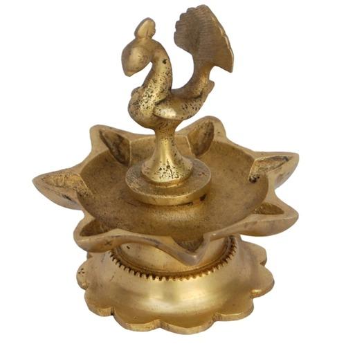 Decorative Diya Or Deepam With Peacock Figure - 3.5 Inch BS1173 A
